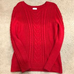 Red cozy knit sweater